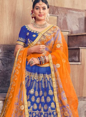 Blue Embroidered Reception Designer Lehenga Choli