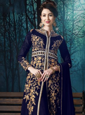 Blue Embroidered Salwar Kameez