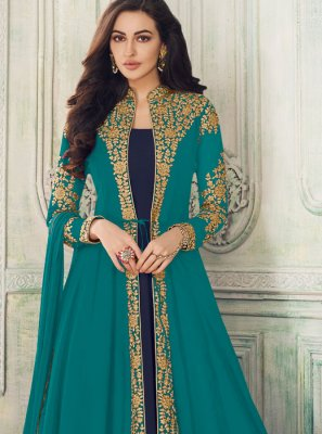 Blue Embroidered Salwar Suit