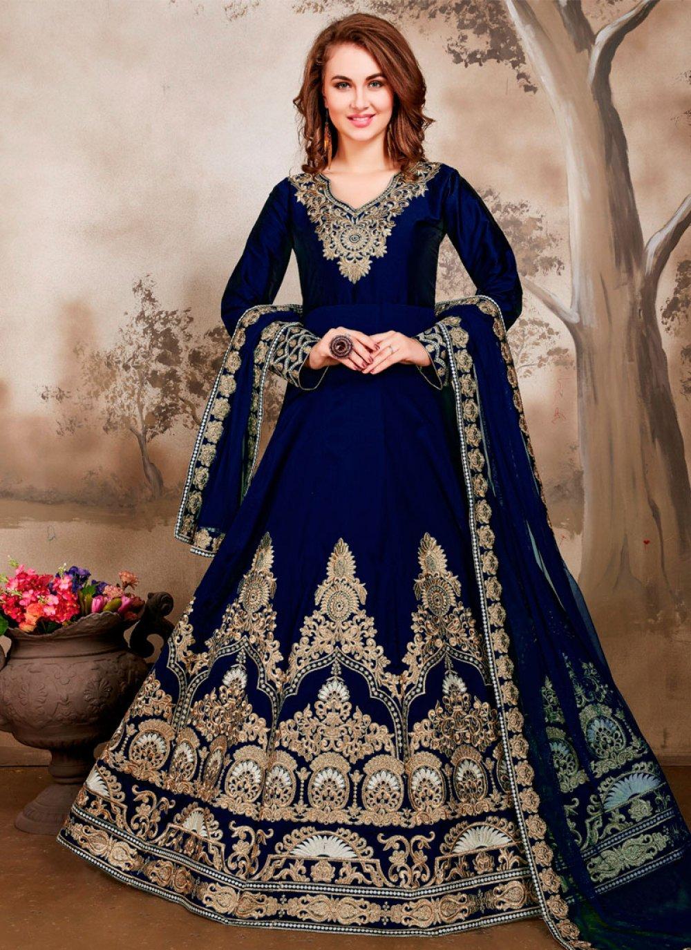 Blue Embroidered Tafeta Silk Anarkali Salwar Suit