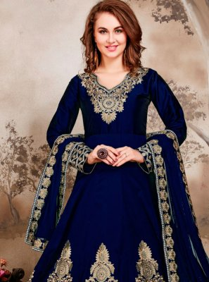 Blue Embroidered Tafeta Silk Anarkali Salwar Suit