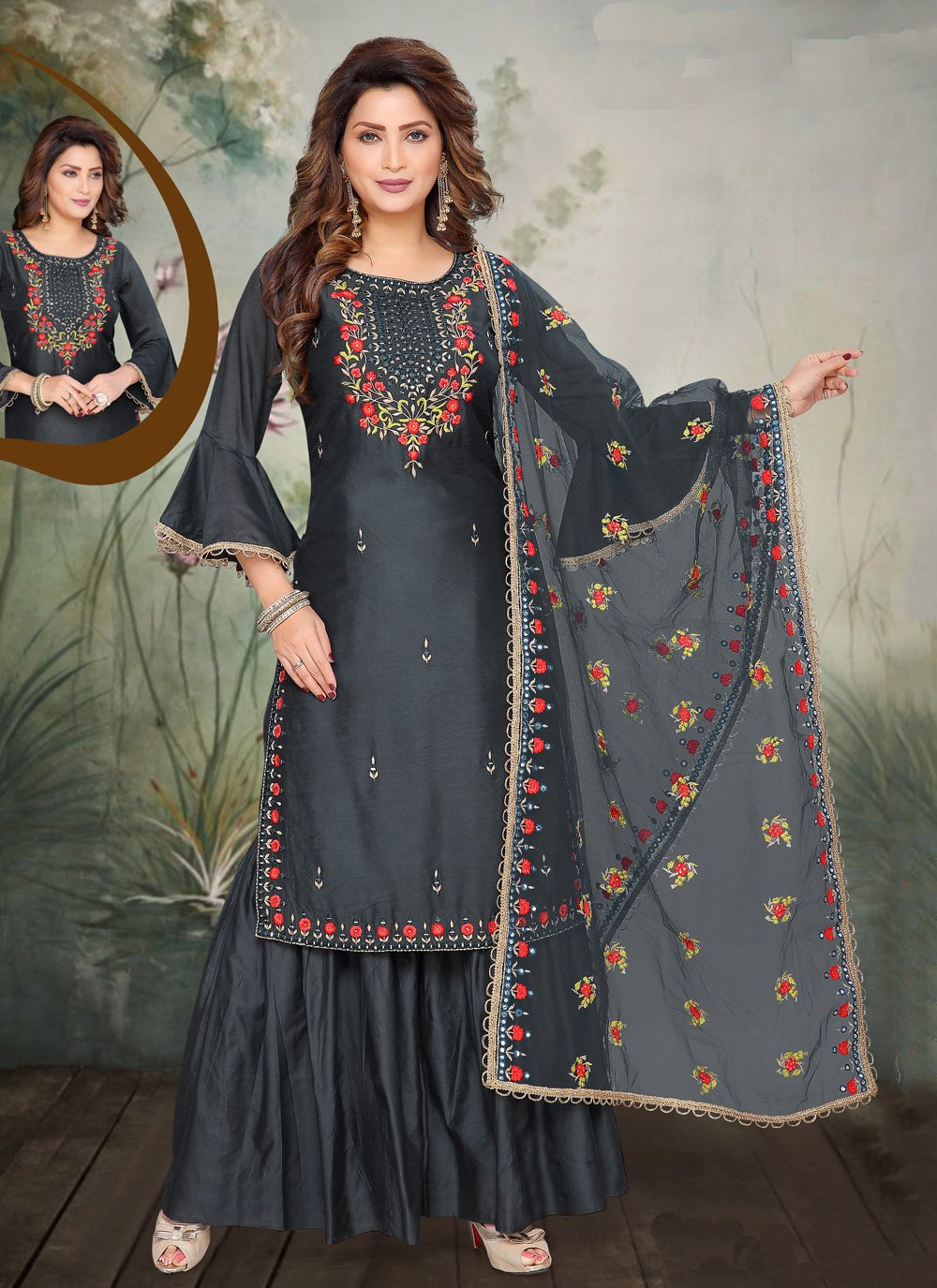 Blue Embroidered Trendy Palazzo Salwar Suit