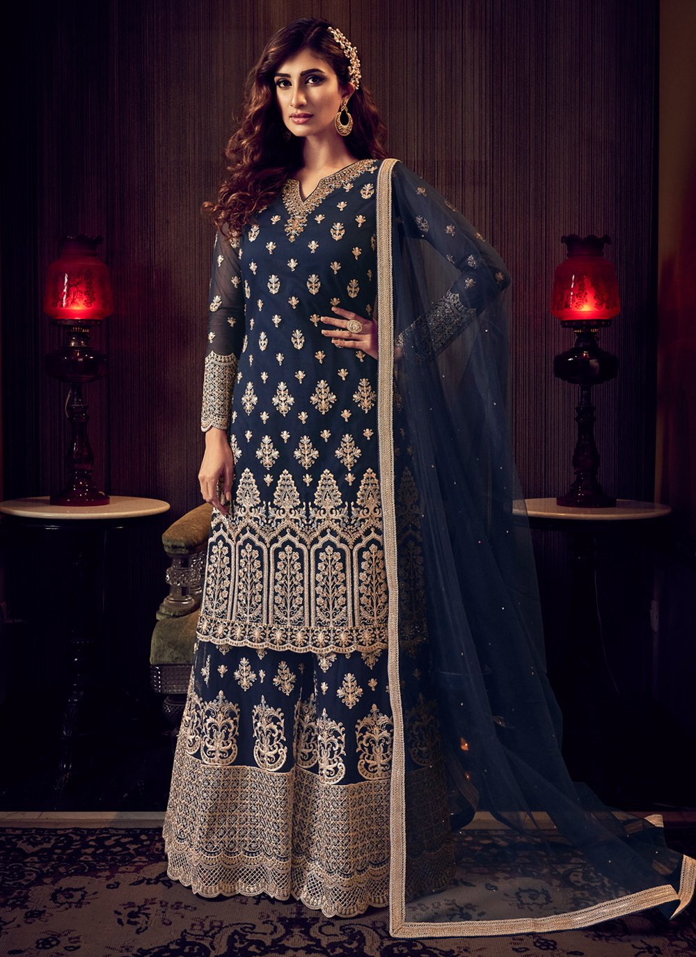 Blue Embroidered Trendy Salwar Kameez
