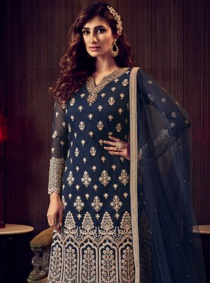 Blue Embroidered Trendy Salwar Kameez