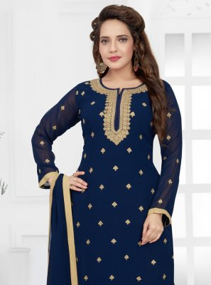 Blue Embroidered Trendy Salwar Suit