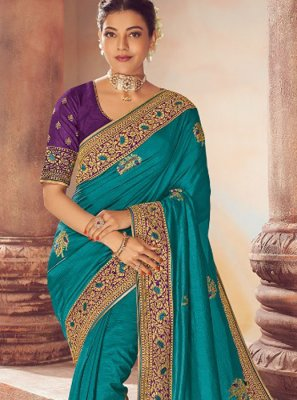 Blue Embroidered Wedding Classic Saree