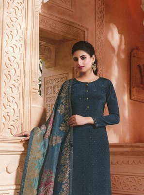 Blue Embroidered Wedding Salwar Kameez