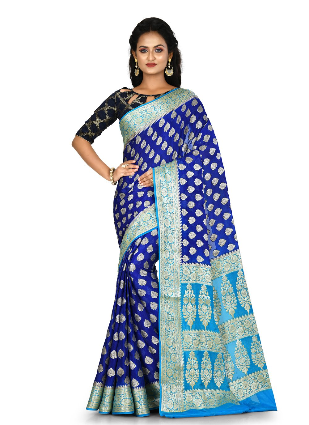 Blue Engagement Classic Saree