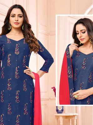 Blue Fancy Churidar Designer Suit