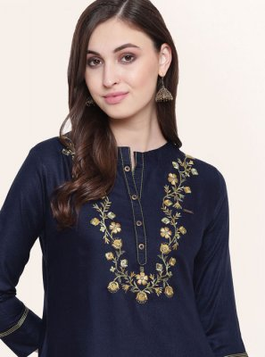 Blue Fancy Fabric Festival Party Wear Kurti