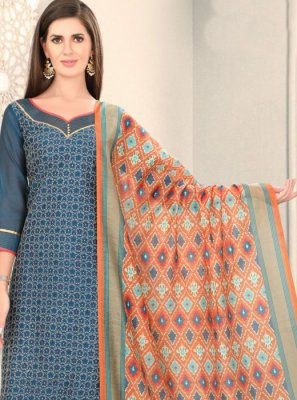 Blue Fancy Festival Churidar Designer Suit