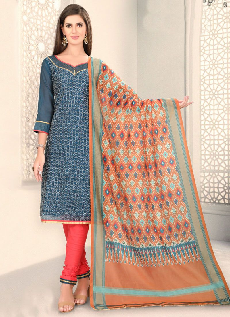 Blue Fancy Festival Churidar Designer Suit
