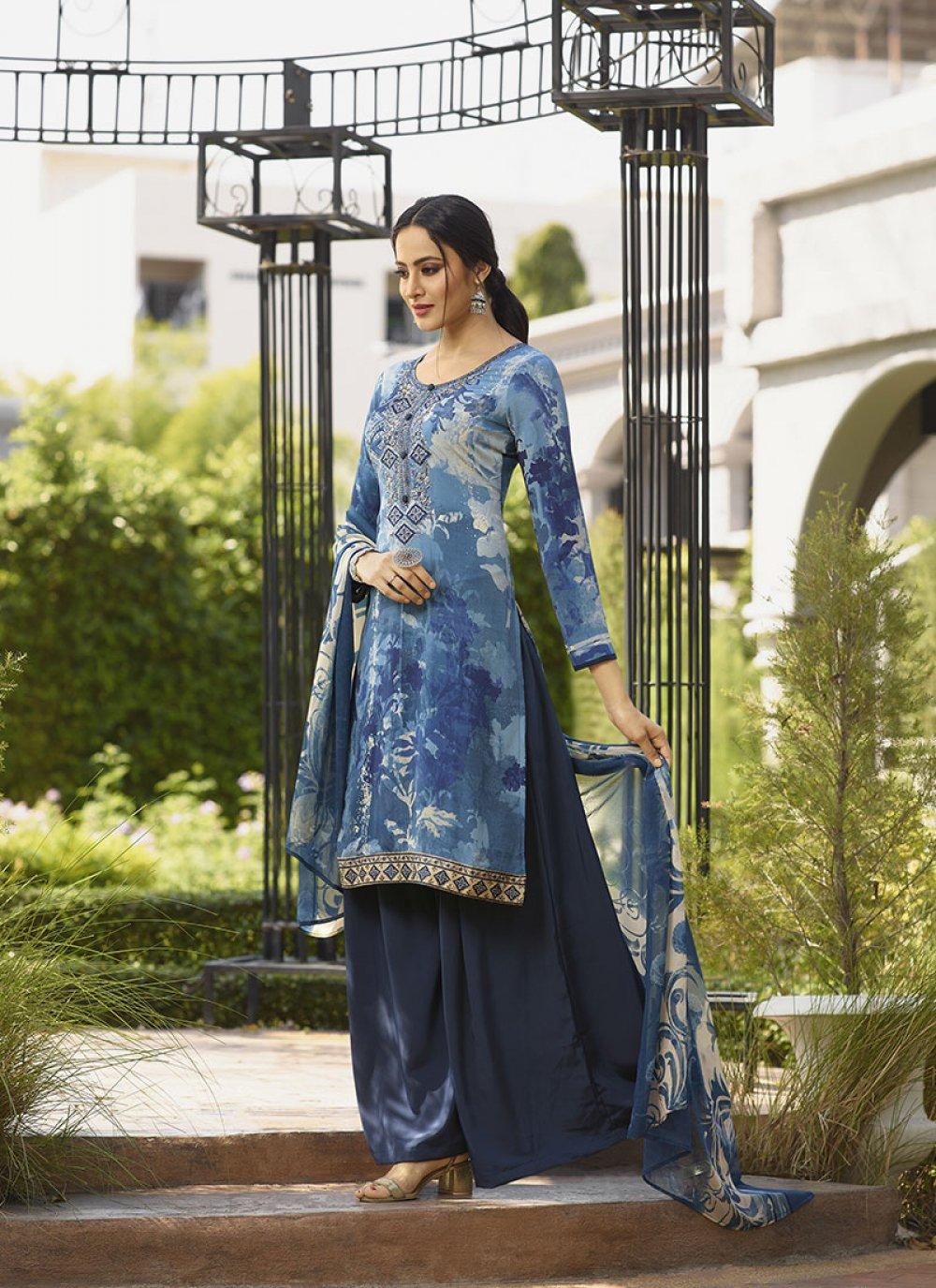Blue Faux Crepe Ceremonial Salwar Suit