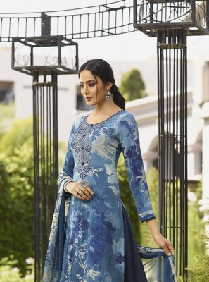 Blue Faux Crepe Ceremonial Salwar Suit