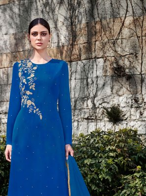Blue Faux Georgette Ceremonial Designer Palazzo Suit