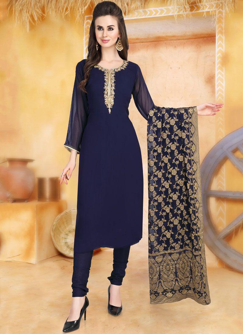 Blue Faux Georgette Churidar Salwar Kameez