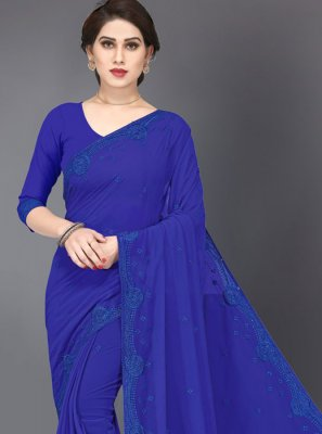 Blue Faux Georgette Embroidered Trendy Saree