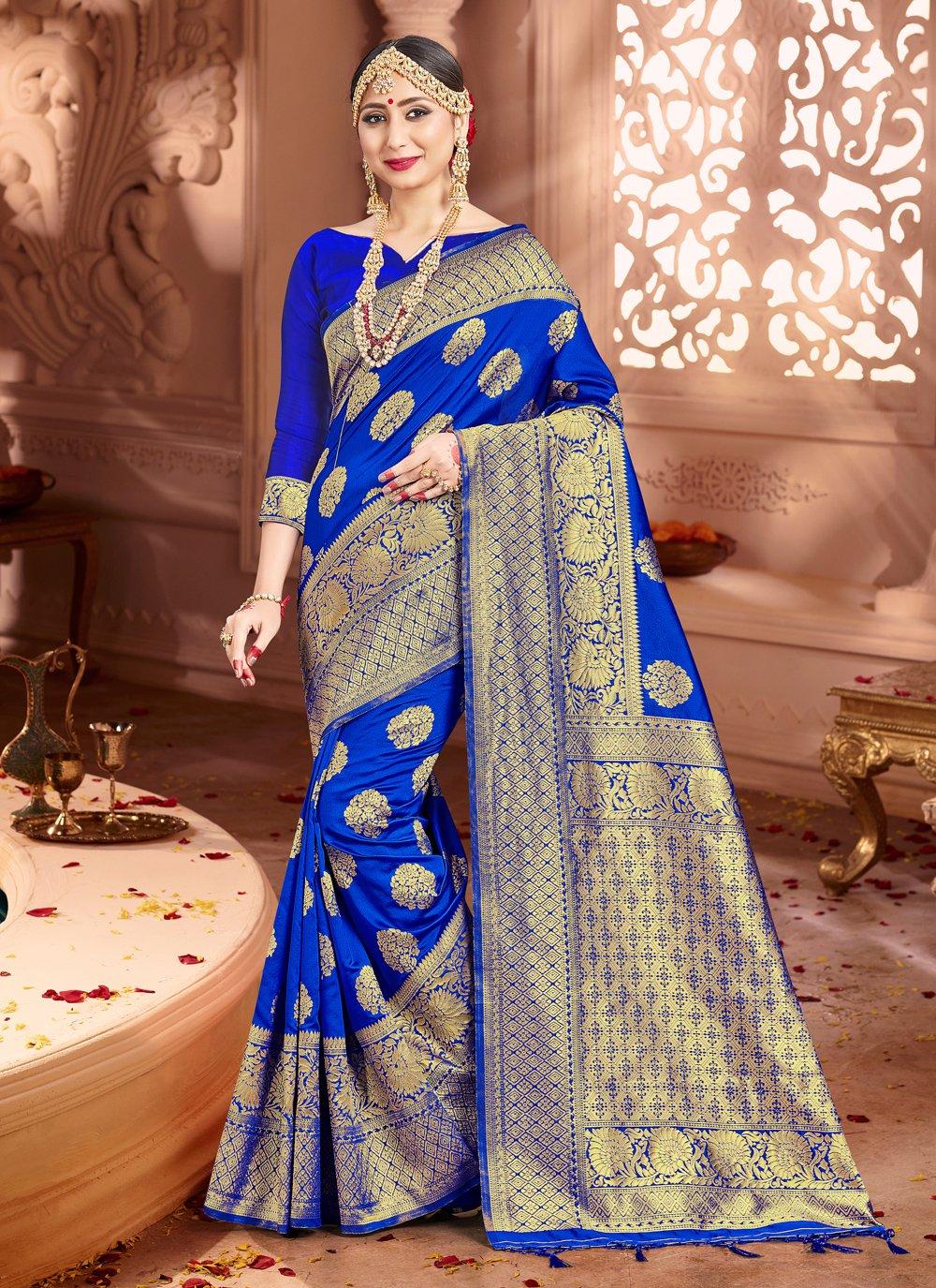 Blue Festival Art Banarasi Silk Trendy Saree