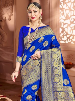 Blue Festival Art Banarasi Silk Trendy Saree