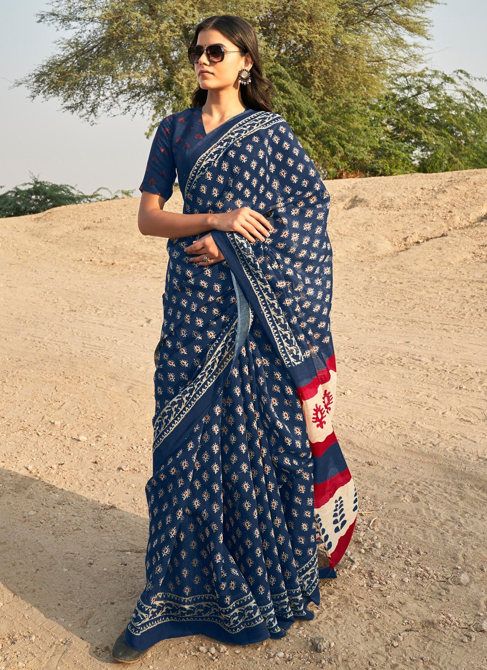 Blue Festival Casual Saree
