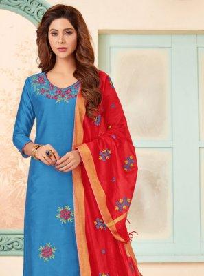 Blue Festival Cotton Salwar Suit