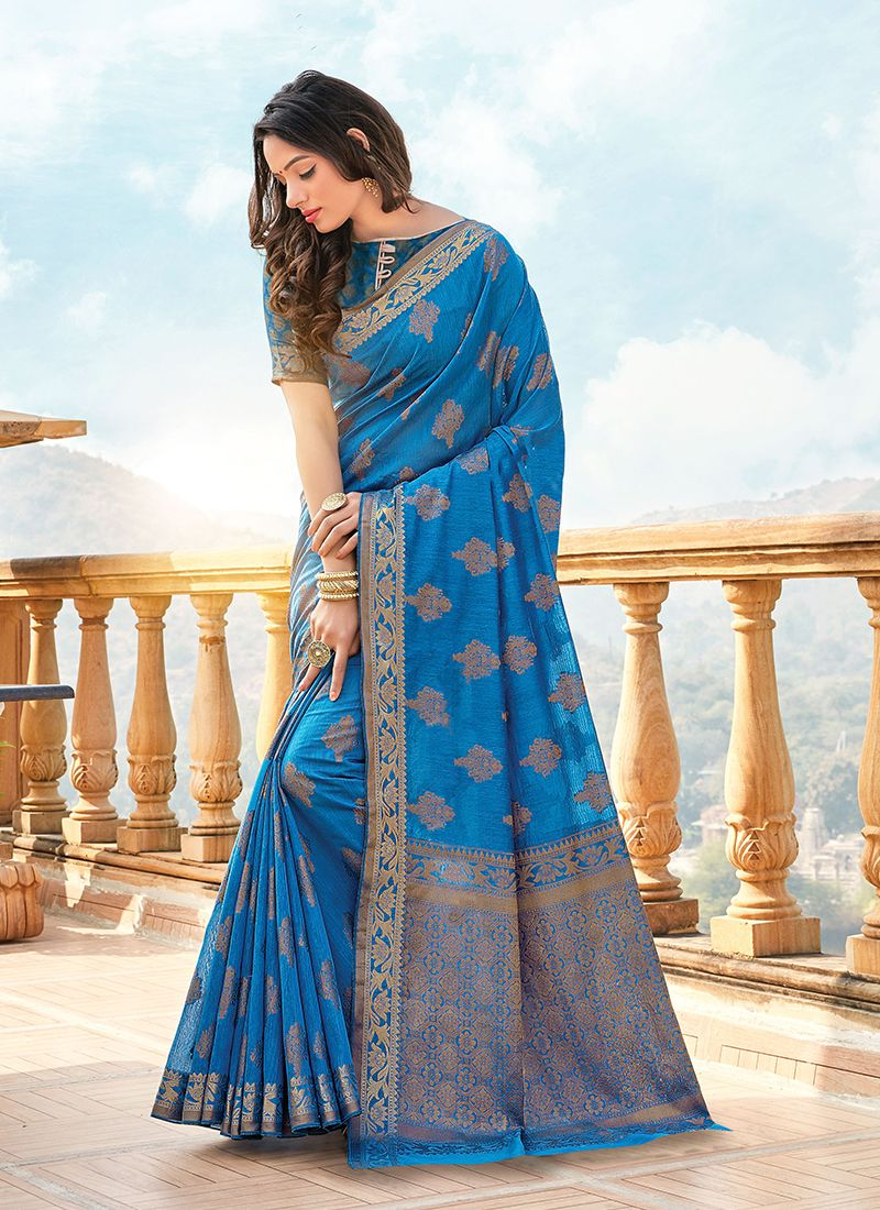 Blue Festival Handloom Cotton Classic Designer Saree