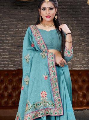 Blue Festival Silk Designer Lehenga Style Saree