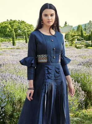 Blue Festival Silk Readymade Gown