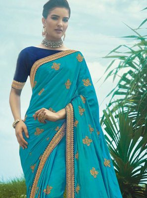 Blue Festival Silk Trendy Saree
