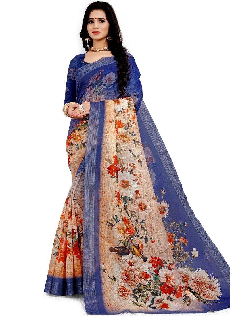 Blue Floral Print Classic Designer Saree