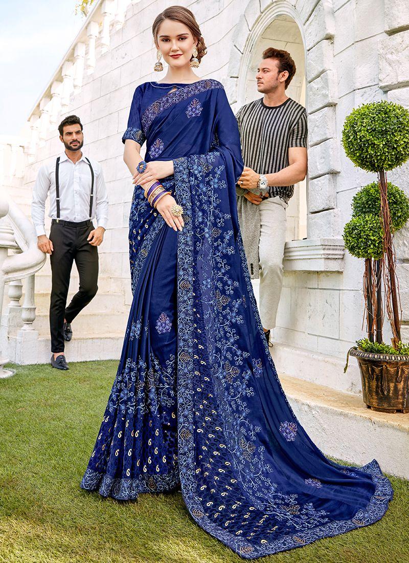 Blue Georgette Ceremonial Designer Saree