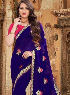 Blue Georgette Embroidered Classic Designer Saree