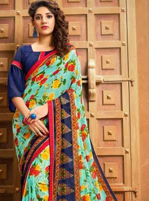 Blue Georgette Festival Printed Saree
