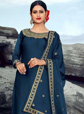 Blue Georgette Party Designer Palazzo Suit