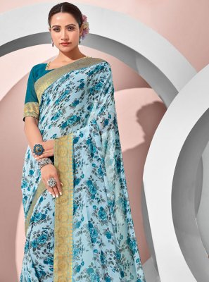 Blue Georgette Printed Designer Saree