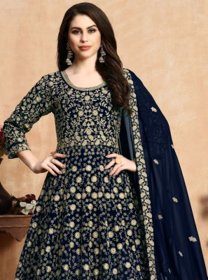 Blue Georgette Wedding Anarkali Suit