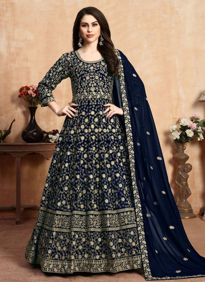 Blue Georgette Wedding Anarkali Suit