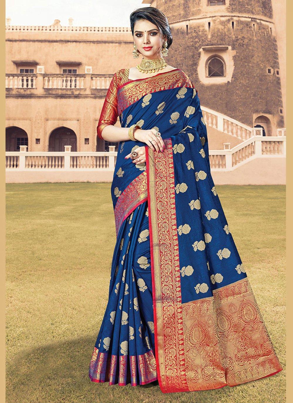 Blue Handloom Cotton Designer Traditional Saree