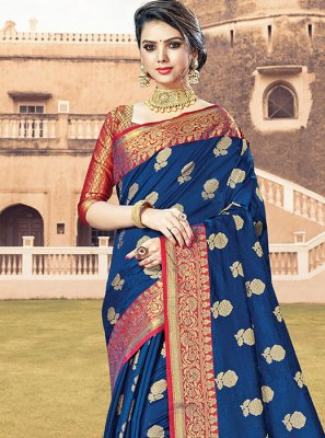Blue Handloom Cotton Designer Traditional Saree