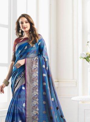 Blue Handloom Cotton Woven Classic Designer Saree