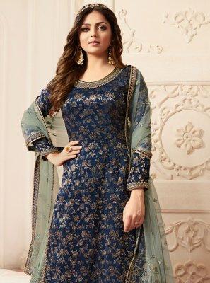 Blue Jacquard Embroidered Designer Palazzo Salwar Kameez