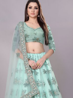 Blue Lace Net Lehenga Choli