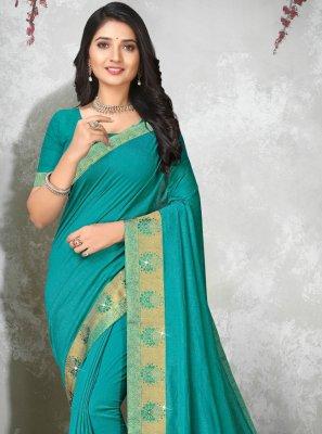Blue Lace Silk Contemporary Saree