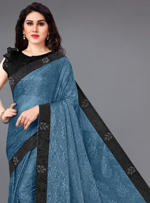 Blue Lycra Border Casual Saree