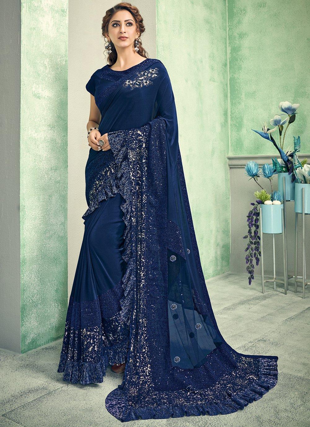 Blue Lycra Handwork Traditional Saree
