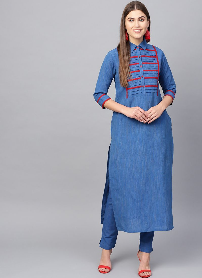 Blue Mehndi Cotton Casual Kurti