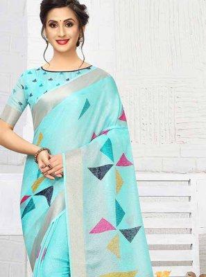 Blue Mehndi Linen Printed Saree