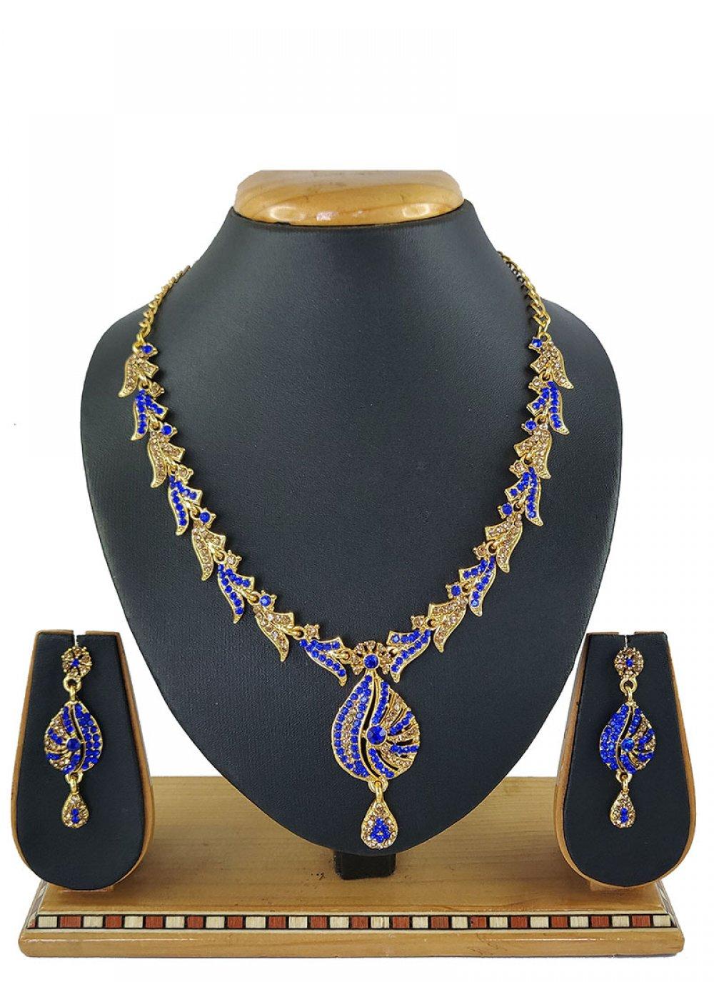 Blue Mehndi Necklace Set