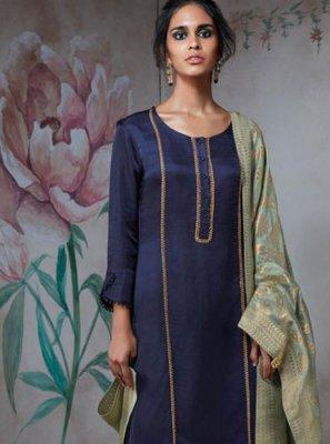 Blue Mehndi Satin Designer Suit