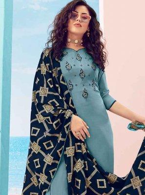 Blue Muslin Palazzo Designer Salwar Kameez